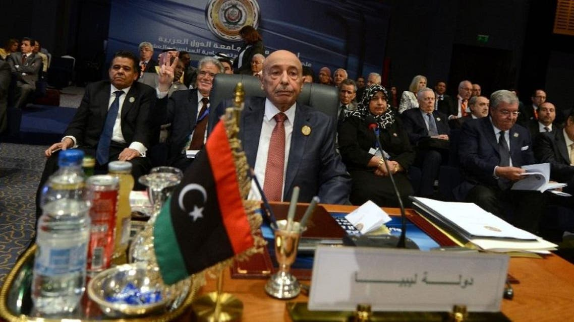 President of the Libyan House of Representative Aguila Saleh attends the closing session of the Arab League summit in the Egyptian Red Sea resort of Sharm El-Sheikh on March 29, 2015 (AFP)