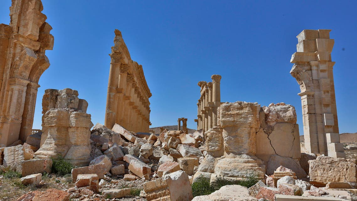 In this picture taken Friday, April 1, 2016, damage is seen in the ancient city of Palmyra in the central city of Homs, Syria. (AP)