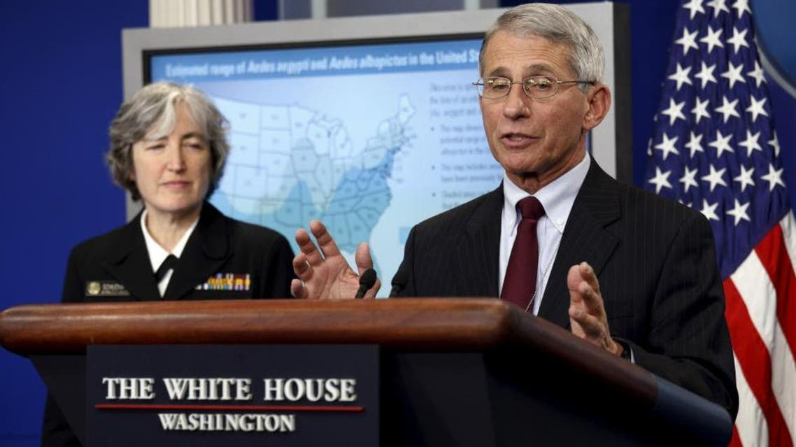 Dr. Anthony Fauci (R), director of the National Institute for Allergy and Infectious Disease, and Dr. Anne Schuchat, Principal Deputy Director for Centers of Disease Control Prevention, speak about the Zika virus at the White House in Washington April 11, 2016. REUTERS/Kevin Lamarque