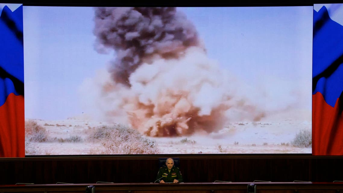 Lt. Gen. Sergei Rudskoi of the Russian military's General Staff speaks at a briefing in Moscow, Russia, on Monday, April 11, 2016. (AP)