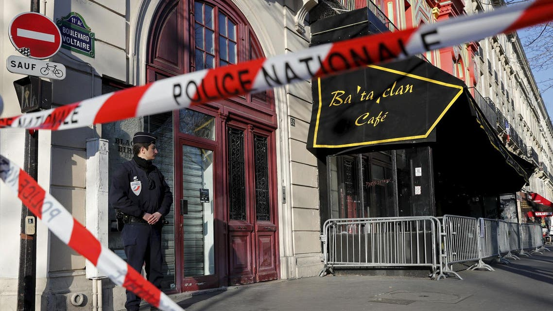 French police block the access to the Bataclan concert hall before the visit of members of a committee investigating government measures to fight shooting and bombing attacks at the site four months after a series of attacks at several sites in Paris, France, March 17, 2016.
