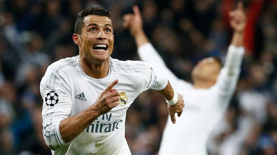 Real Madrid's Cristiano Ronaldo celebrates scoring their third goal and his hat-trick. (Reuters)