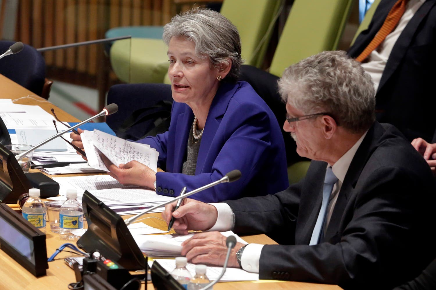 UN Secretary General candidate Irina Bokova, Director-General of UNESCO, responds to questions while U.N. General Assembly President Mogens Lykketoft, of Denmark, listens. (AP)