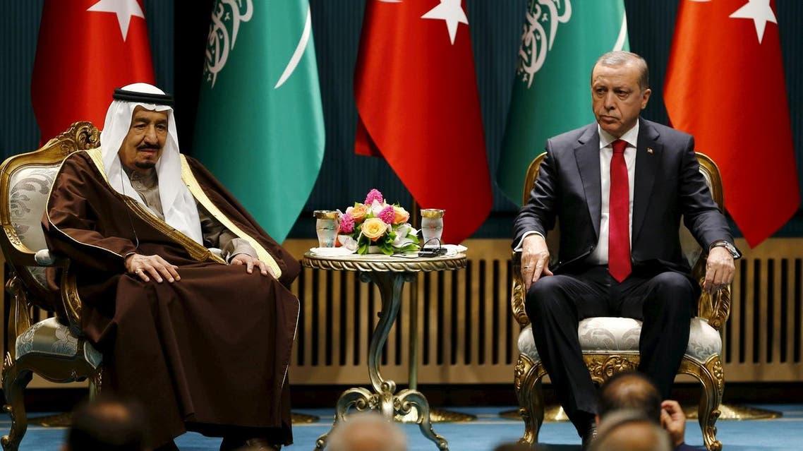 Turkey's President Tayyip Erdogan and Saudi King Salman attend a ceremony in Ankara, Turkey. (Reuters)