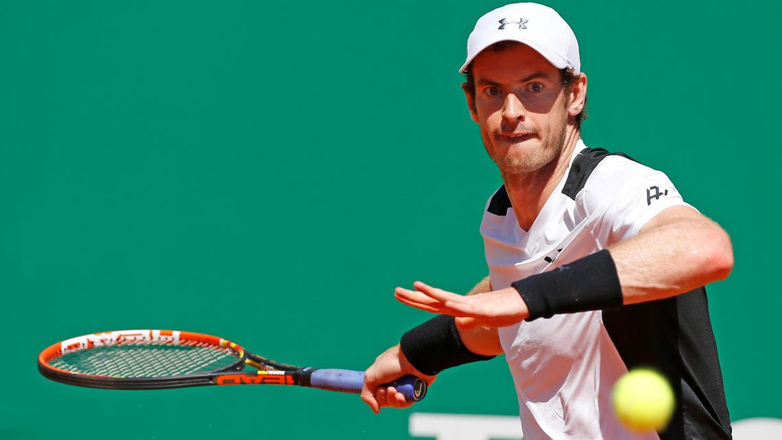 Tennis - Monte Carlo Masters - Monaco, 14/04/2016. Andy Murray of Britain plays a shot to Benoit Paire of France . REUTERS/Eric Gaillard