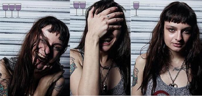 صور ... شاهد ماذا يفعل الخمر بالانسان بعد شرب ثلاث كؤوس !