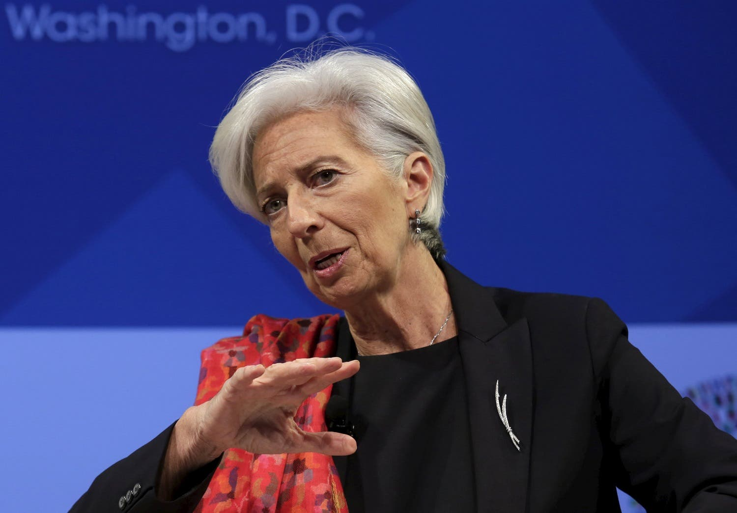 IMF Managing Director Christine Lagarde speaks at a refugee crisis panel in advance of the IMF/World Bank spring meetings in Washington. (Reuters)