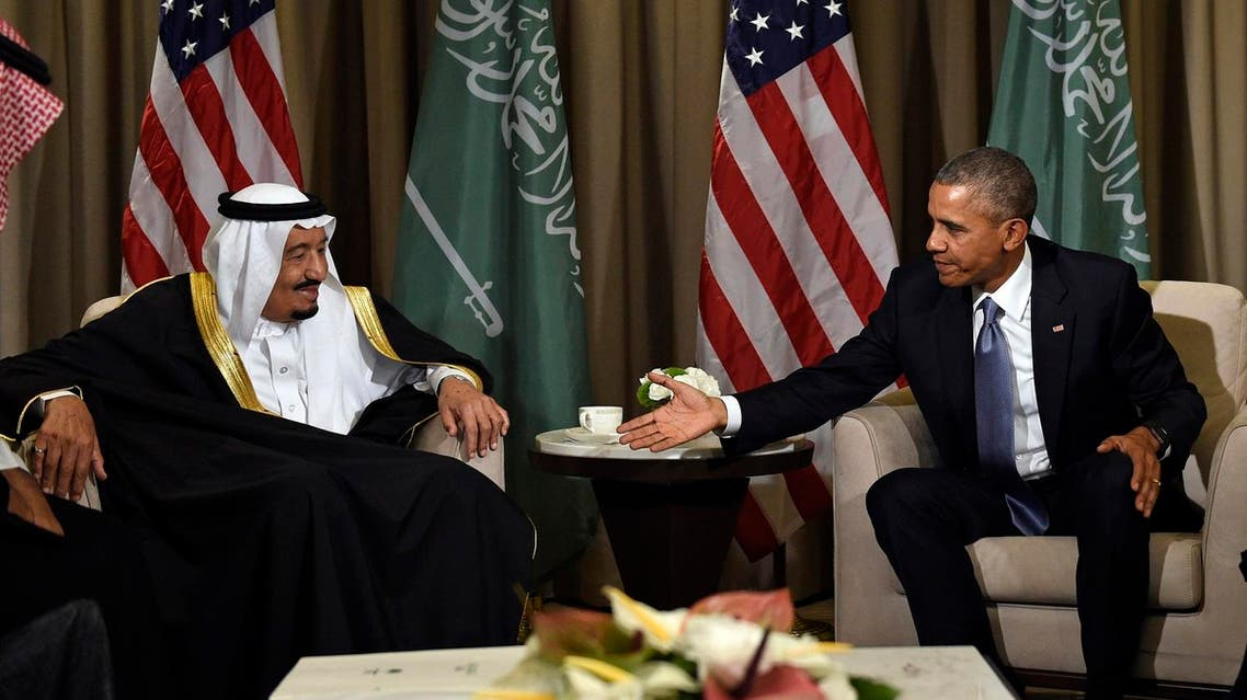 U.S President Barack Obama reaches out to shake hands with King Salman of Saudi Arabia at the G-20 Summit in Antalya, Turkey, Sunday, Nov. 15, 2015. (AP)