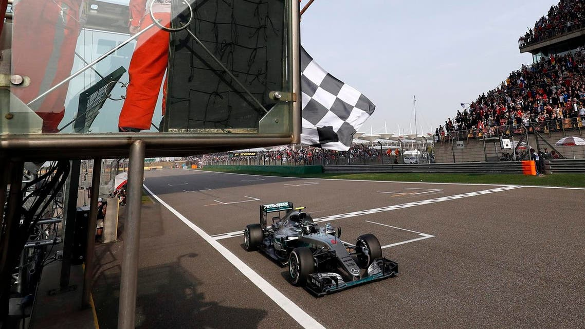 Mercedes driver Nico Rosberg of Germany gets the checkered flag to win the Chinese Formula One Grand Prix at the Shanghai International Circuit, in Shanghai, China, Sunday, April 17, 2016. (AP Photo/Pool)