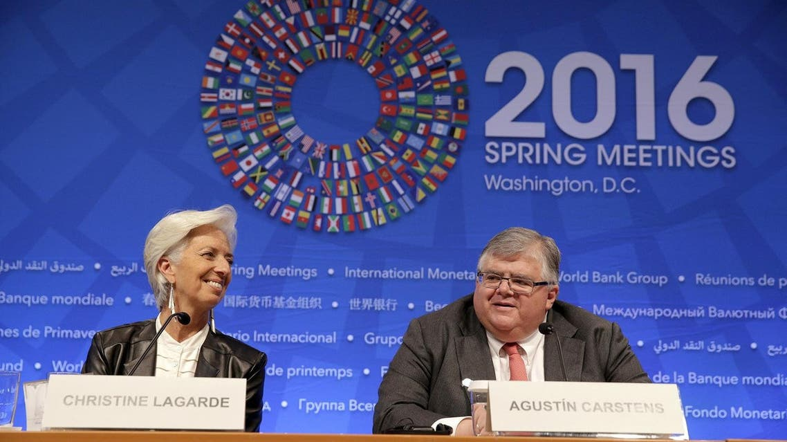 IMF Managing Director Christine Lagarde and Governor of the Central Bank of Mexico Agustin Carstens speak during a news conference after the International Monetary and Financial Committee (IMFC) Meeting at the 2016 World Bank-IMF Spring Meeting in Washington April 16, 2016. REUTERS