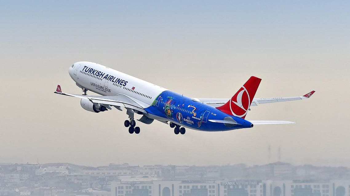 In this image released on Wednesday, April 13, 2016, a Turkish Airlines' A330-300 aircraft begins its maiden flight to Paris painted in the UEFA EURO 2016™ competition livery. To celebrate the competition this summer, Turkish Airlines has unveiled an A330-300 passenger aircraft painted in the competition's livery. The plane undertook its maiden flight to Paris, the location of this year's final on 10th July, and is just one component of Turkish Airlines' drive to excite fans ahead of this year's tournament. (Ercan Akçay/Turkish Airlines)