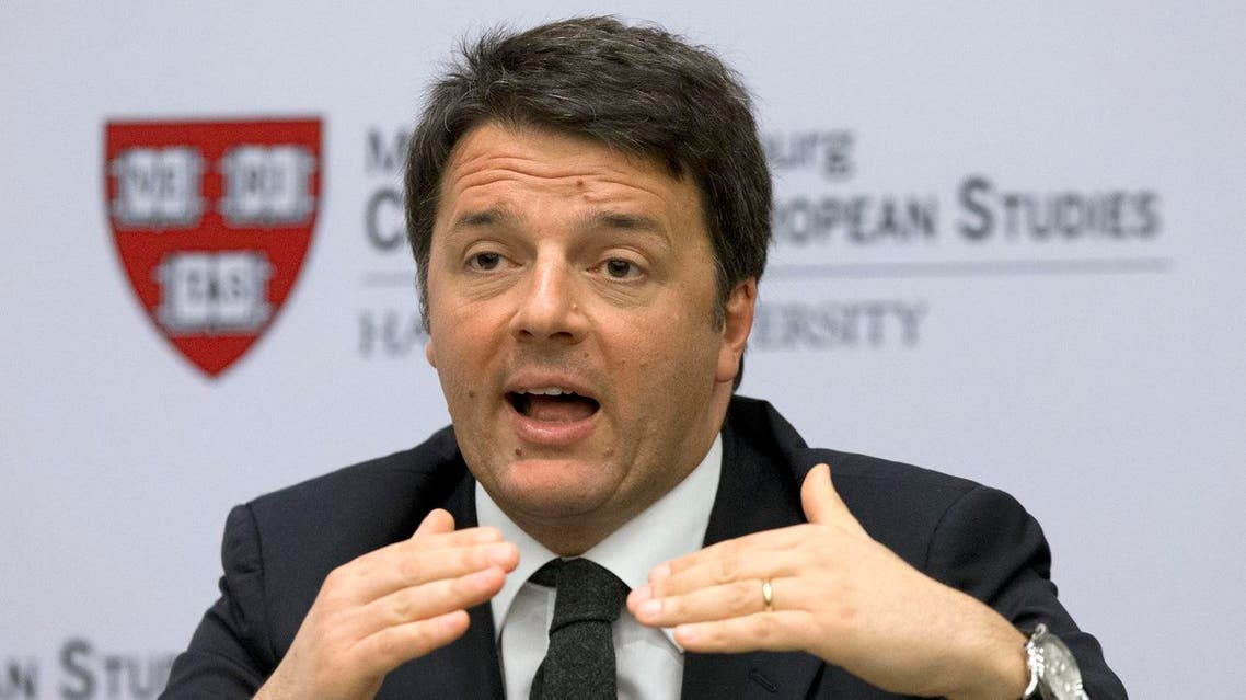 In this file photo taken March 31, 2016, Italian Premier Matteo Renzi speaks at Harvard University's Center for European Studies in Cambridge, Mass. Premier Matteo Renzi says he will abstain from voting Sunday in a referendum in Italy on the duration of offshore drilling concessions in territorial waters, sending a signal that could kill the vote that requires a quorum of 50 percent plus one to make the balloting valid. (AP)