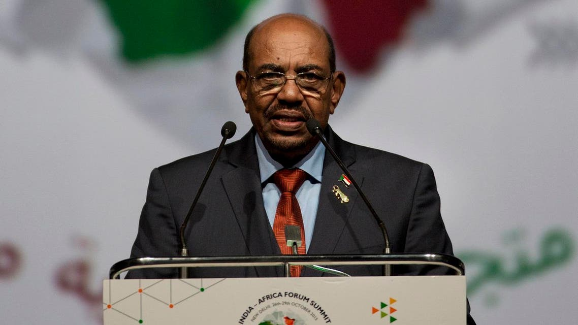 Sudanese President Omar al-Bashir speaks during the India Africa Forum Summit at the Indira Gandhi sports complex in New Delhi, India, Thursday, Oct. 29, 2015. More than 40 African leaders are in New Delhi to attend the IAFS 2015, preceded by meetings of trade and foreign ministers from nearly all 54 African nations, to explore how Indian investment and technology can help a resurgent Africa face its development challenges. (AP)