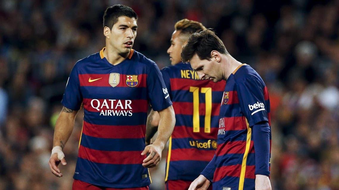 Football Soccer - Barcelona v Valencia - Spanish Liga BBVA - Camp Nou stadium, Barcelona - 17/4/16Barcelona's Luis Suarez, Neymar and Messi react against Valencia. (Reuters)