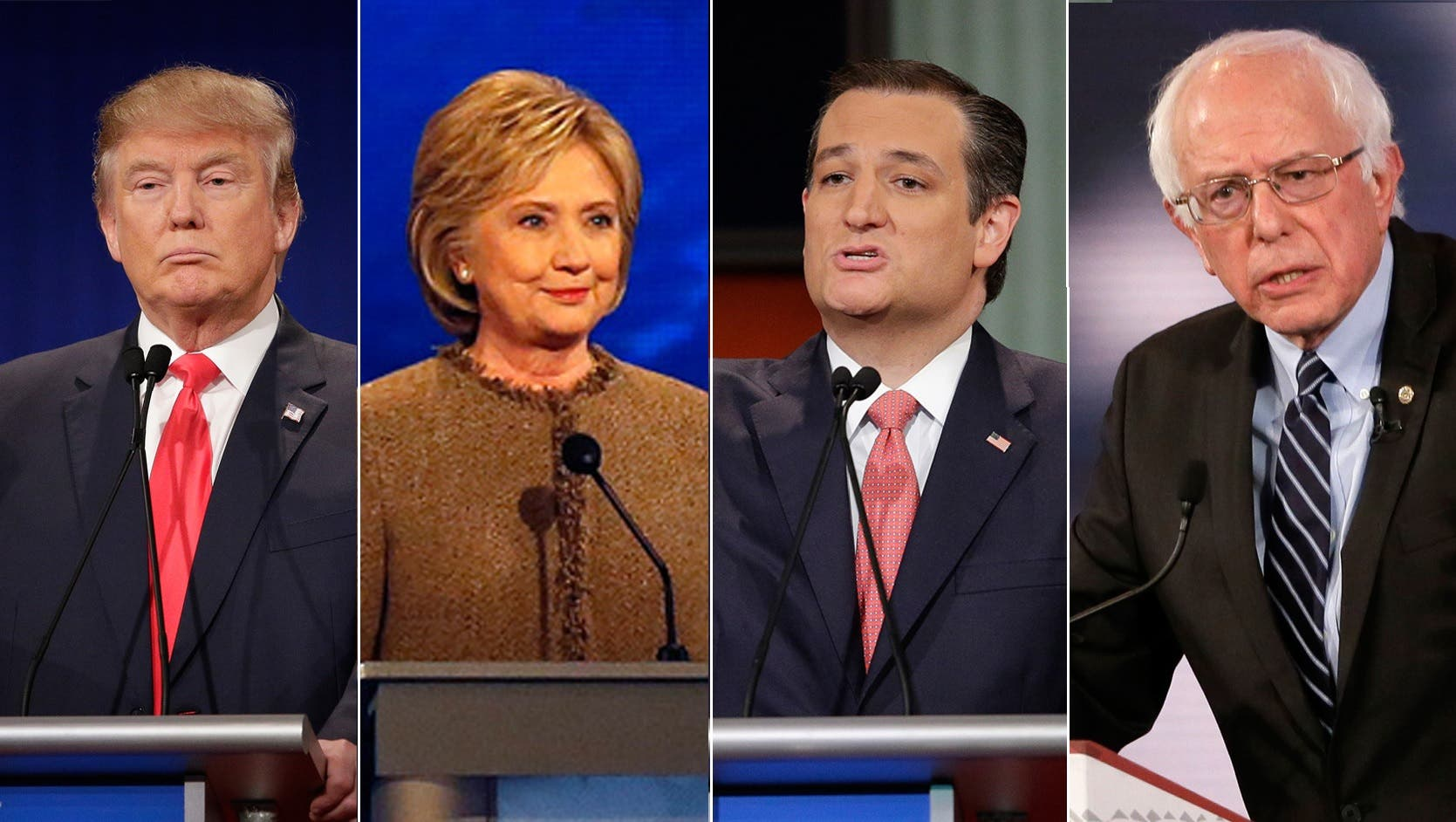 (L-R) US presidential candidates Donald Trump, Hillary Clinton, Ted Cruz, Bernie Sanders. (File photos: Reuters, AP, AFP)