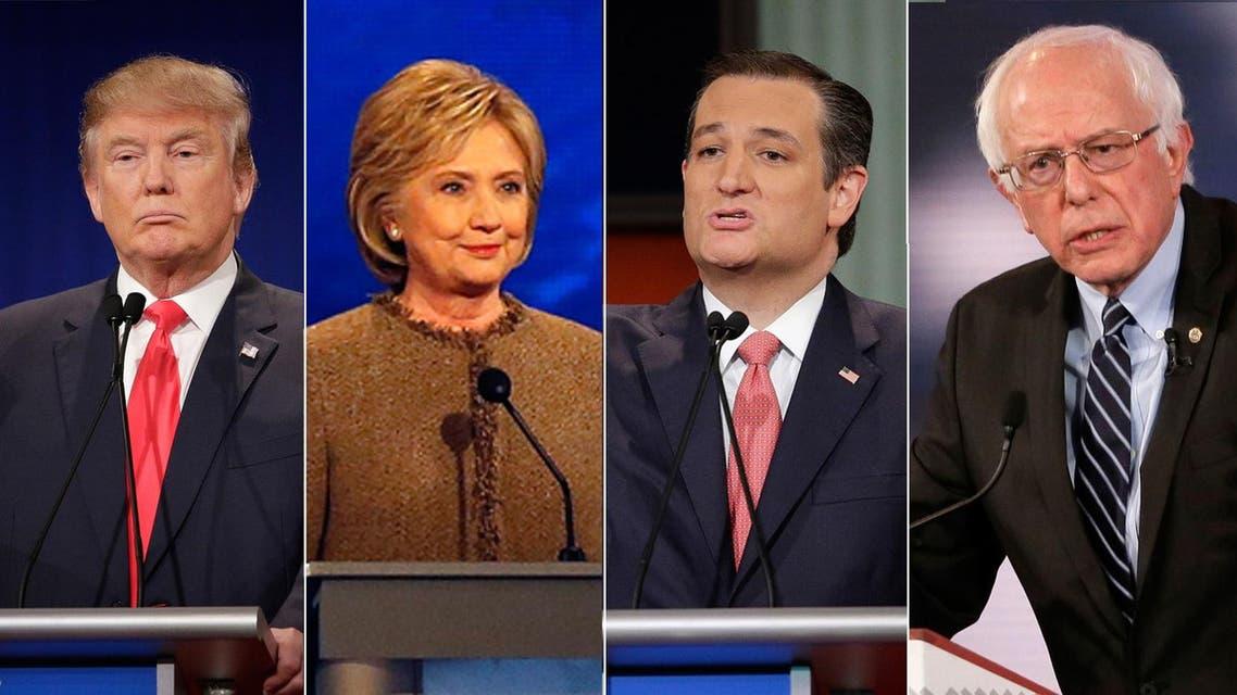 (L-R) US presidential candidates Donald Trump, Hillary Clinton, Ted Cruz, Bernie Sanders. (File photos: Reuters, AP, AFP)