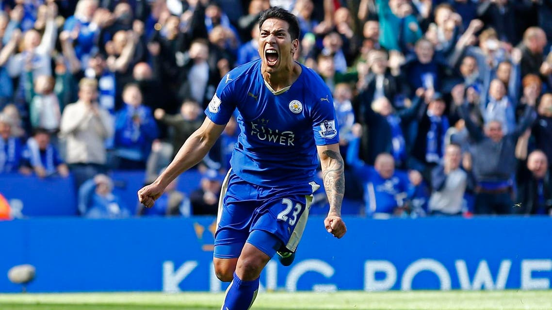 Leonardo Ulloa celebrates scoring the second goal for Leicester from the penalty spot. (Reuters)