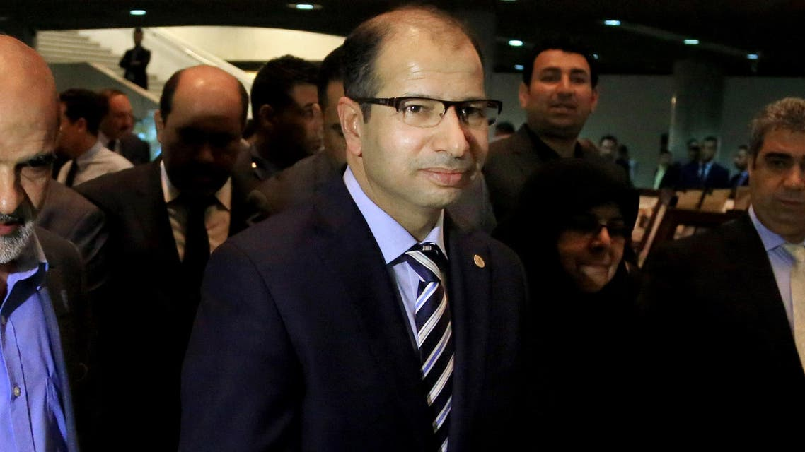 Iraqi parliament speaker Salim al-Jabouri arrives for a press conference in Baghdad, Iraq, Wednesday, April 13, 2016. (AP)