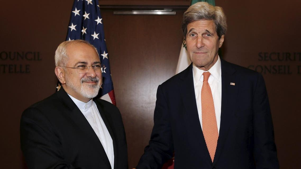 U.S. Secretary of State John Kerry (R) meets with Iran's Foreign Minister Mohammad Javad Zarif at the United Nations Headquarters in New York City, U.S., April 19, 2016. REUTERS