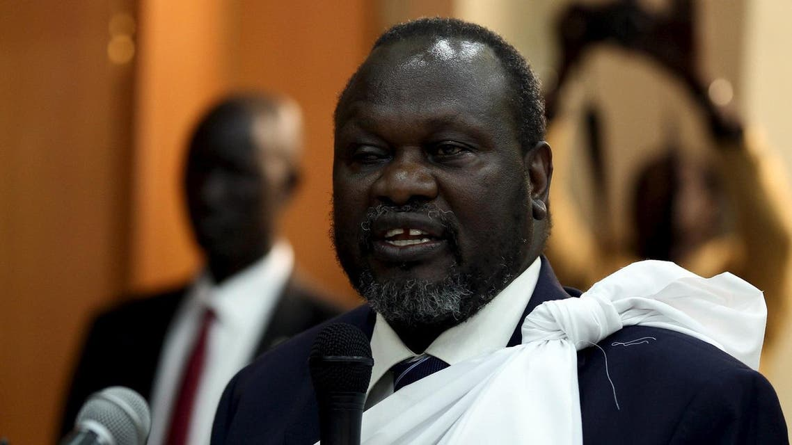 South Sudan's opposition leader Riek Machar speaks during a briefing ahead of his return to South Sudan as vice president, in Ethiopia's capital Addis Ababa April 9, 2016. REUTERS
