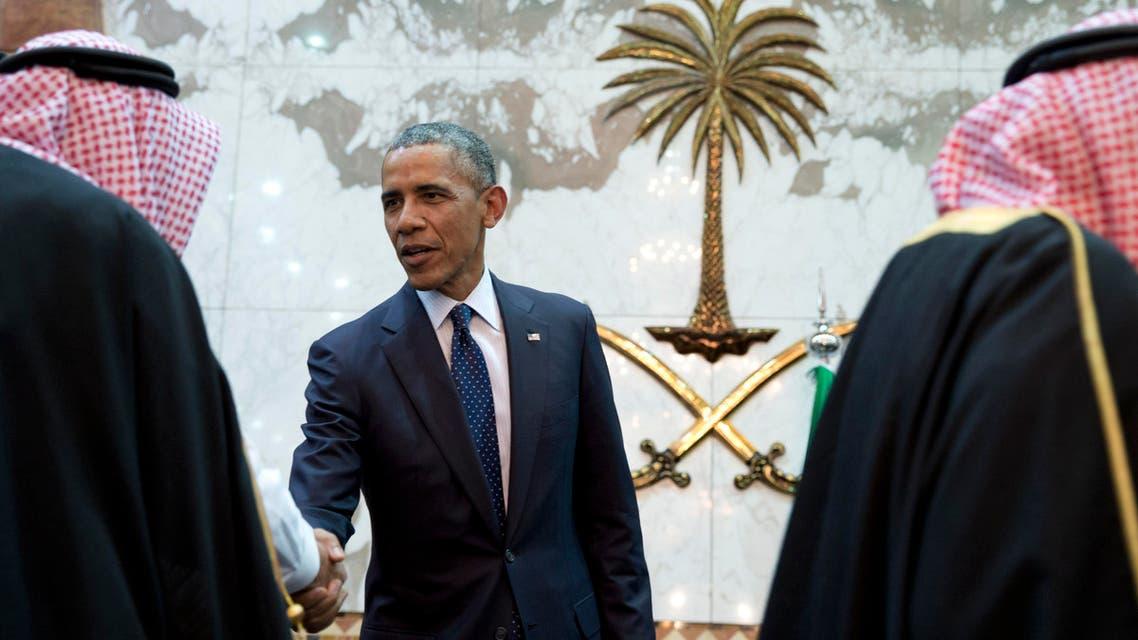 In this Jan. 27, 2015 file photo, President Barack Obama participates in a receiving line with the Saudi Arabian King, Salman bin Abdul Aziz, at Erga Palace in Riyadh, Saudi Arabia. (AP)