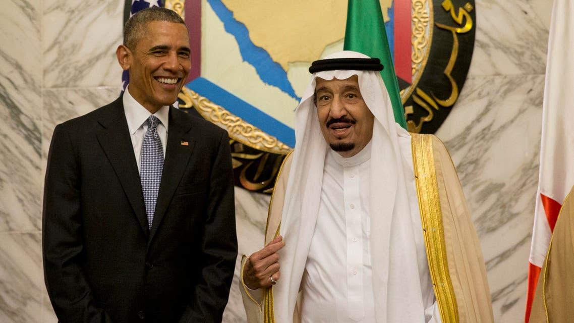 US President Barack Obama seen on Thursday, April 21, 2016 with Saudi King Salman at a Gulf Cooperation Council summit held in the Saudi capital Riyadh. (AP)