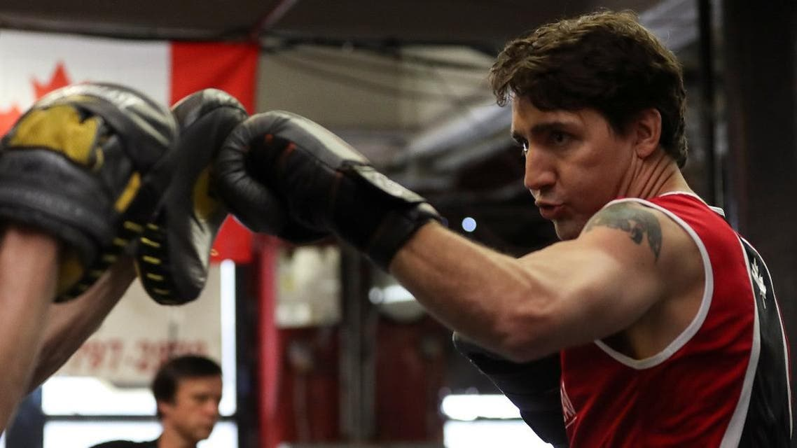 Justin Trudeau spent most of his hour-long workout sparring with professional boxer and former WBA super welterweight champion Yuri Foreman. (Reuters)