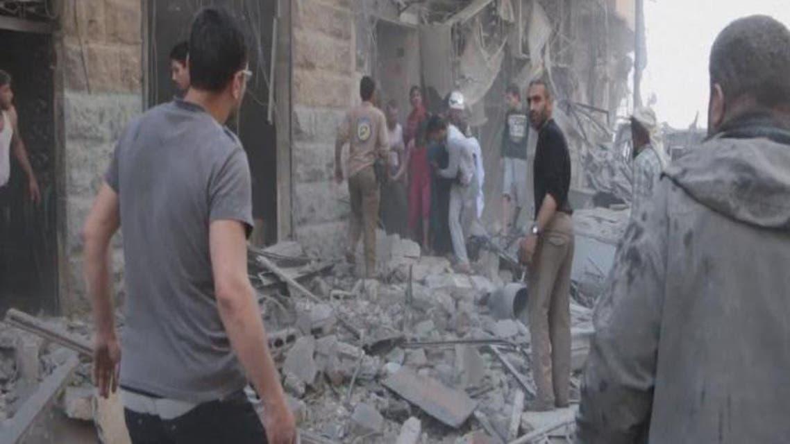 THUMBNAIL_ غارات النظام على حي بستان القصر في #حلب