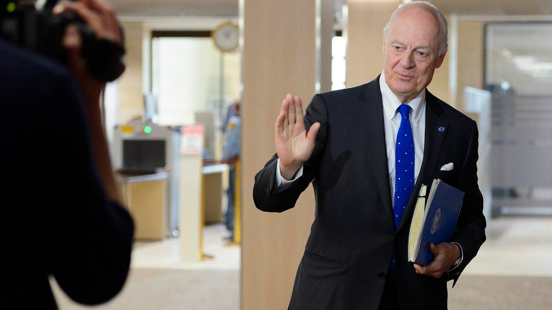 UN special envoy for Syria envoy Staffan de Mistura gestures upon his arrival for a meeting with the Syrian government delegation during Syria peace talks at the United Nations office in Geneva, Switzerland, Friday, April 22, 2016. (Fabrice Coffrini/Pool Photo via AP)