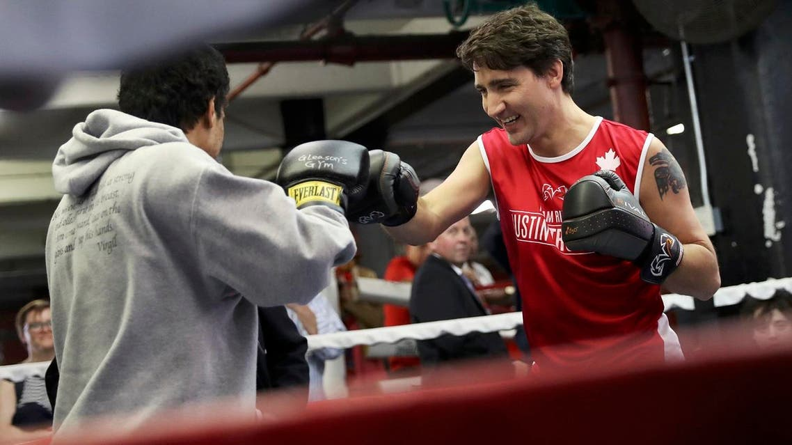 Canada's Prime Minister Justin Trudeau trains at Gleason's Boxing Gym in Brooklyn, New York, US, April 21, 2016. (Retuers)