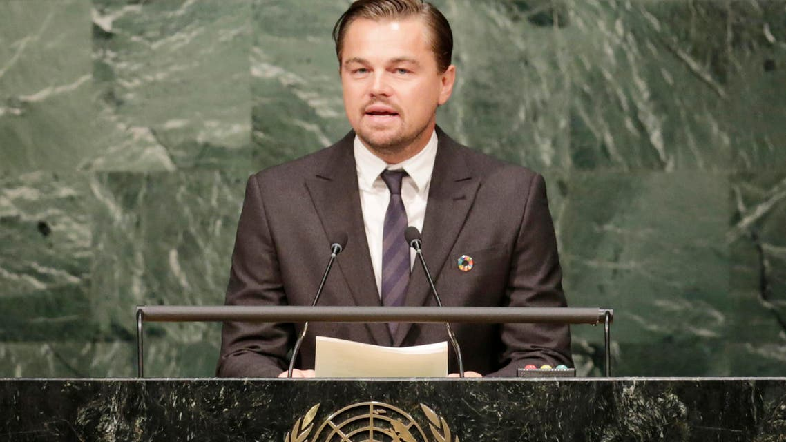 Actor Leonardo Di Caprio, a United Nations Messenger of Peace, speaks at the signing ceremony for the Paris Agreement on climate change, Friday, April 22, 2016 at U.N. headquarters. (AP)