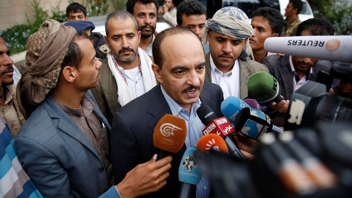 A member of the Houthis and allies team to Yemen peace talks in Kuwait, Yahya Douaid, talks to media at Sanaa airport before the team leaves in Sanaa, Yemen, Wednesday, April 20, 2016. Yemen's Shiite rebels have reversed an earlier decision to boycott U.N.-sponsored peace talks designed to find a way to end the war in the impoverished Arab nation and their delegation was on its way Wednesday, heading to the negotiations, due to take place in Kuwait. (AP)