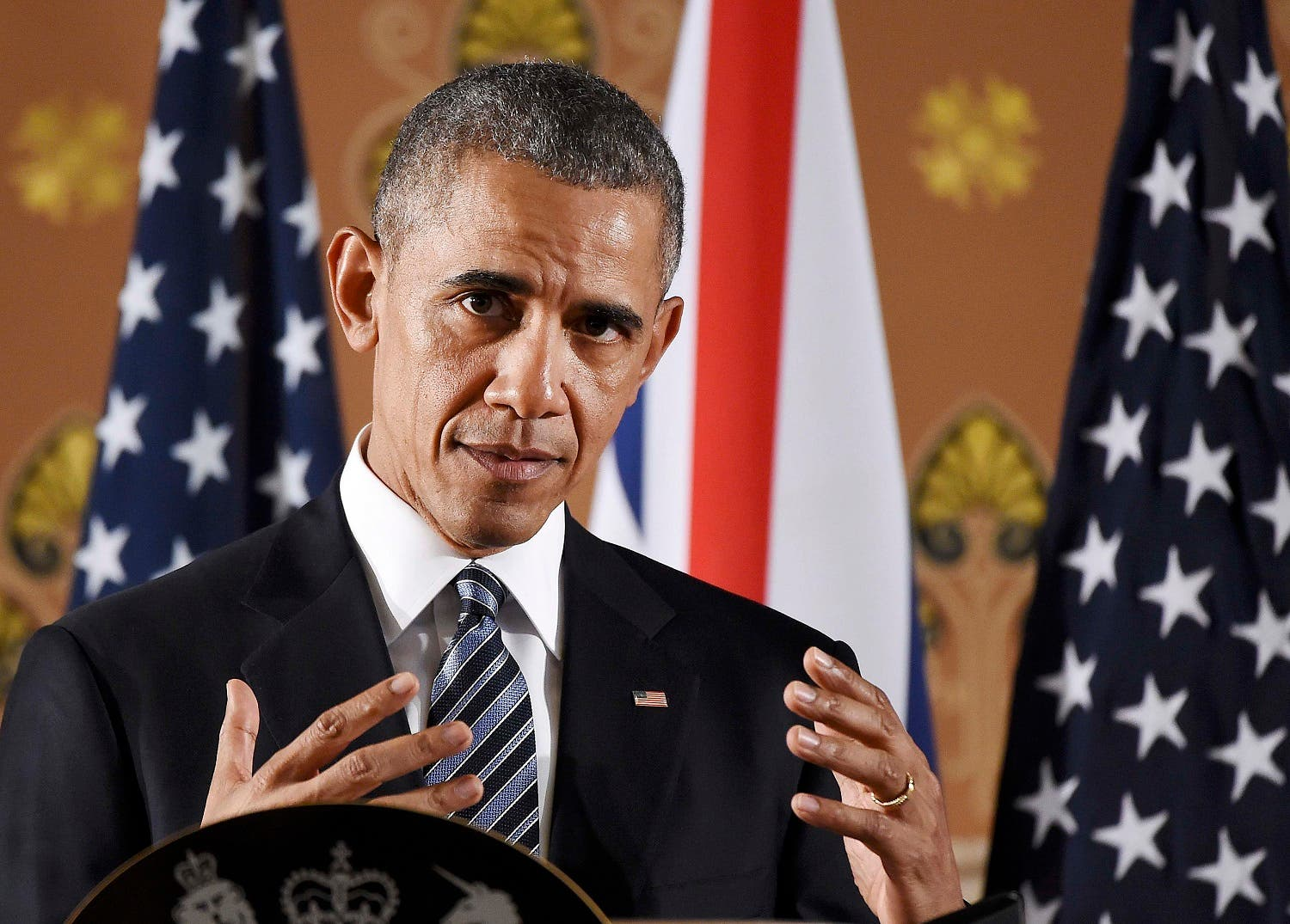 US President Barack Obama speaks during a press conference at the Foreign and Commonwealth Office in central London with Britain's Prime Minister David Cameron (unseen) following a meeting at Downing Street, in London, Britain April, 22, 2016. REUTERS/Andy Rain/Pool