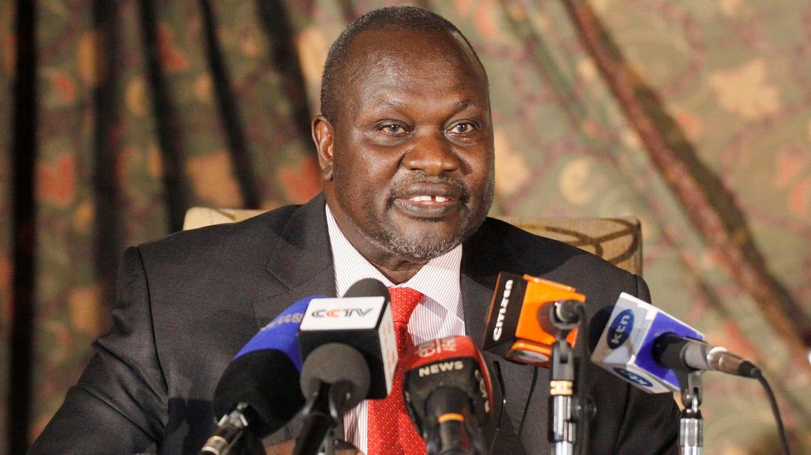 South Sudan rebel leader Riek Machar addresses journalists during a news conference in Nairobi, Kenya , Wednesday, July 8, 2015. Machar called on South Sudan President Salva Kiir to resign along with the whole government or risk sparking a revolution (AP)