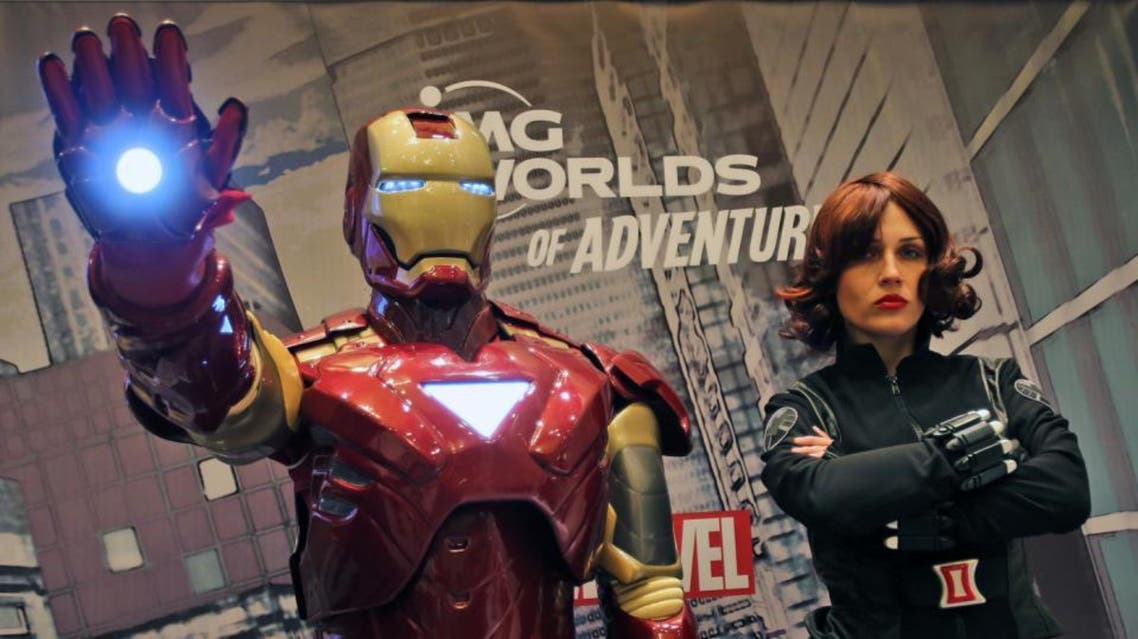 Marvel heroes, Iron Man and Black Widow pose at the IMG Worlds of Adventure press conference in Dubai, United Arab Emirates, Sunday, April 24, 2016 (AP)