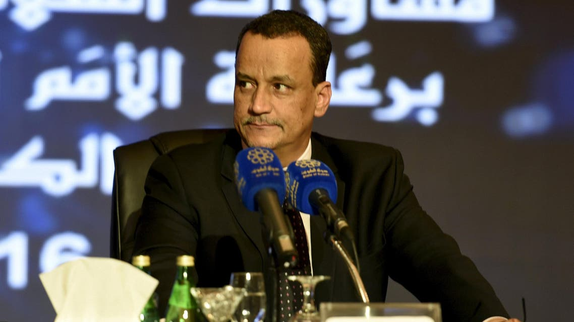 U.N. special envoy to Yemen Ismail Ould Cheikh Ahmed attends a press conference after the first direct meeting between Yemen's warring factions, at the Kuwait Ministry of Information in Kuwait City April 22, 2016. reuters