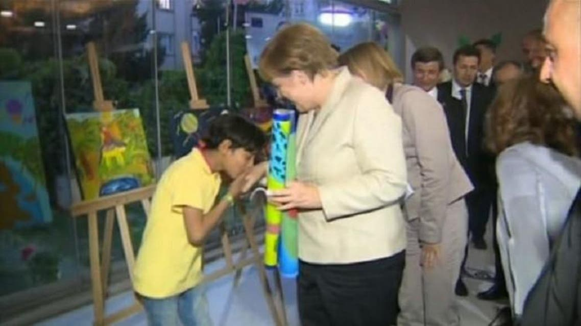 Merkel was visiting a Nizip 2 refugee camp on the Turkish-Syrian border near Gaziantep on Saturday, when the incident took place. (via YouTube)