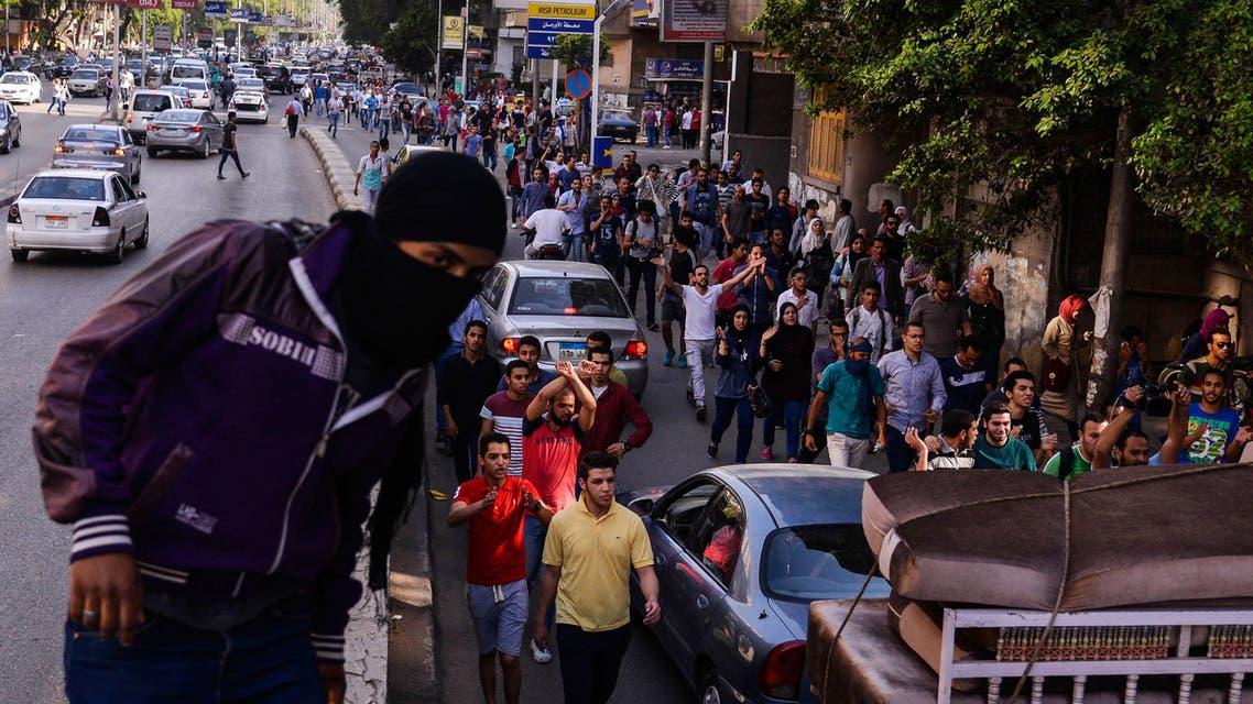 Egyptians demonstrate against President Abdel-Fattah el-Sissi in Mesaha square in Cairo's Dokki district, Monday, April 25, 2016. AP