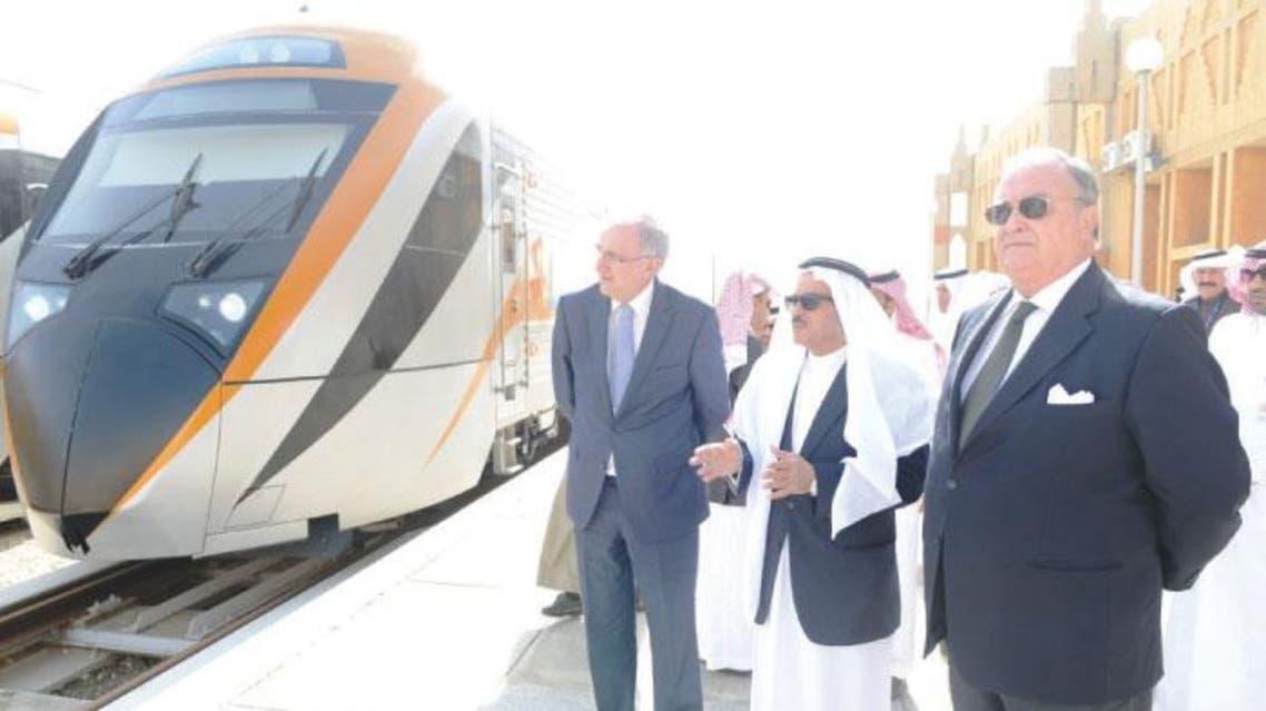 Saudi Railways Organization (SRO) CEO Muhammad Al-Suwaiket and Spanish Ambassador to the Kingdom Joaquin Perez at the launch of four new push-pull passenger trains at Dammam passenger train station. (Saudi Gazette)