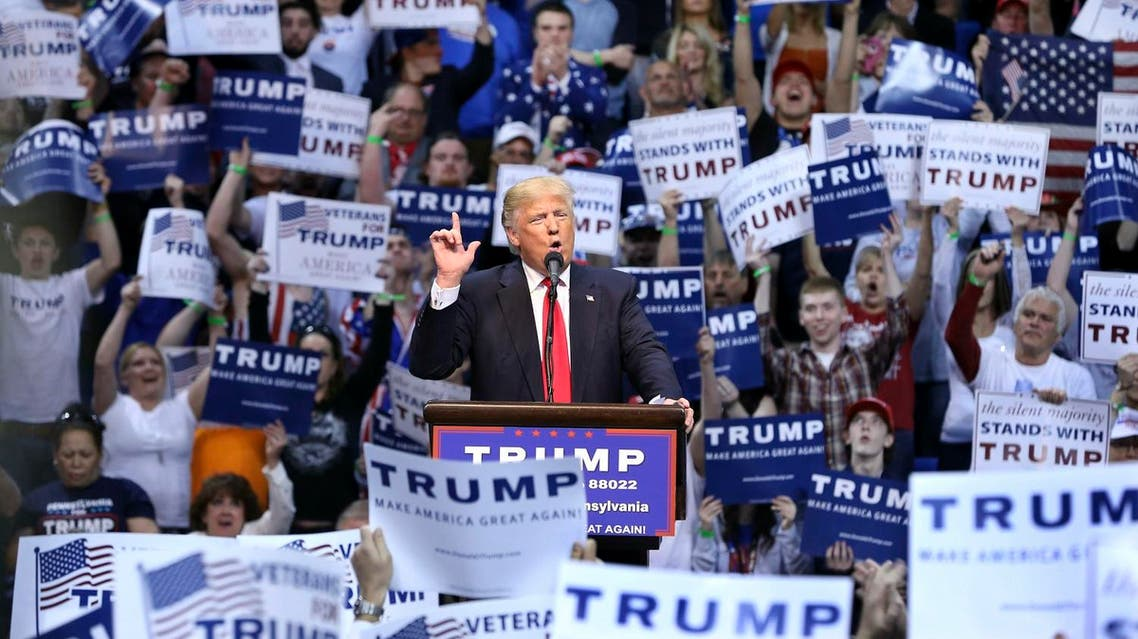 Republican presidential candidate Donald Trump speaks at a campaign rally Monday, April 25, 2016, in Wilkes-Barre, Pa. (AP)