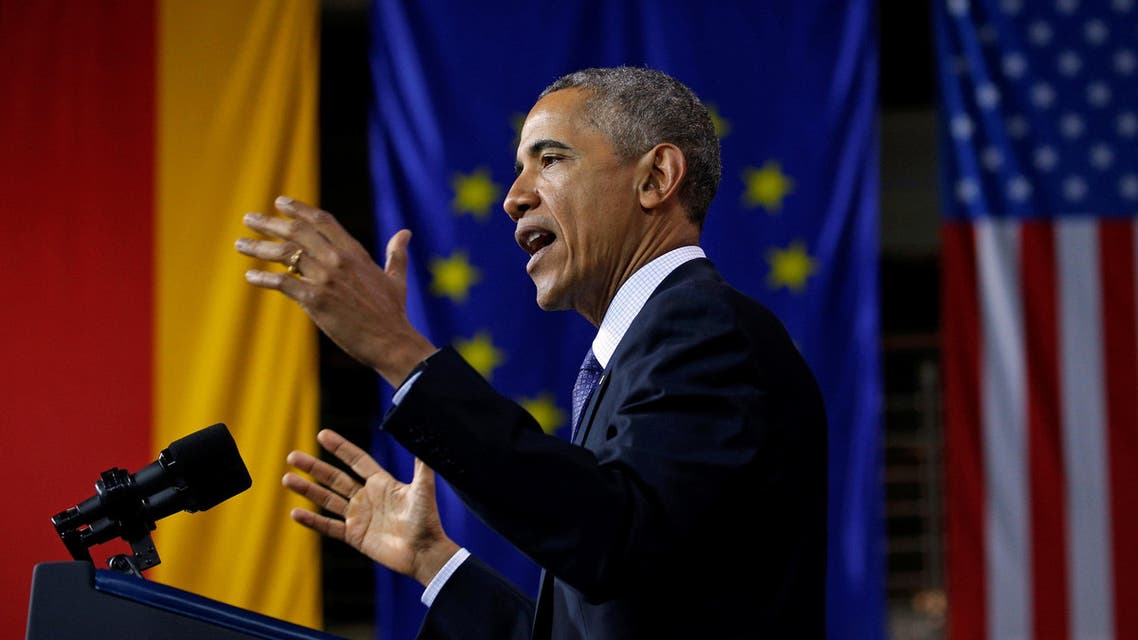US President Obama delivers a speech during his visit to Hanover. (Reuters)