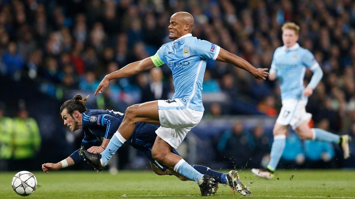 Real Madrid's Gareth Bale in action with Manchester City's Vincent Kompany. (Reuters)