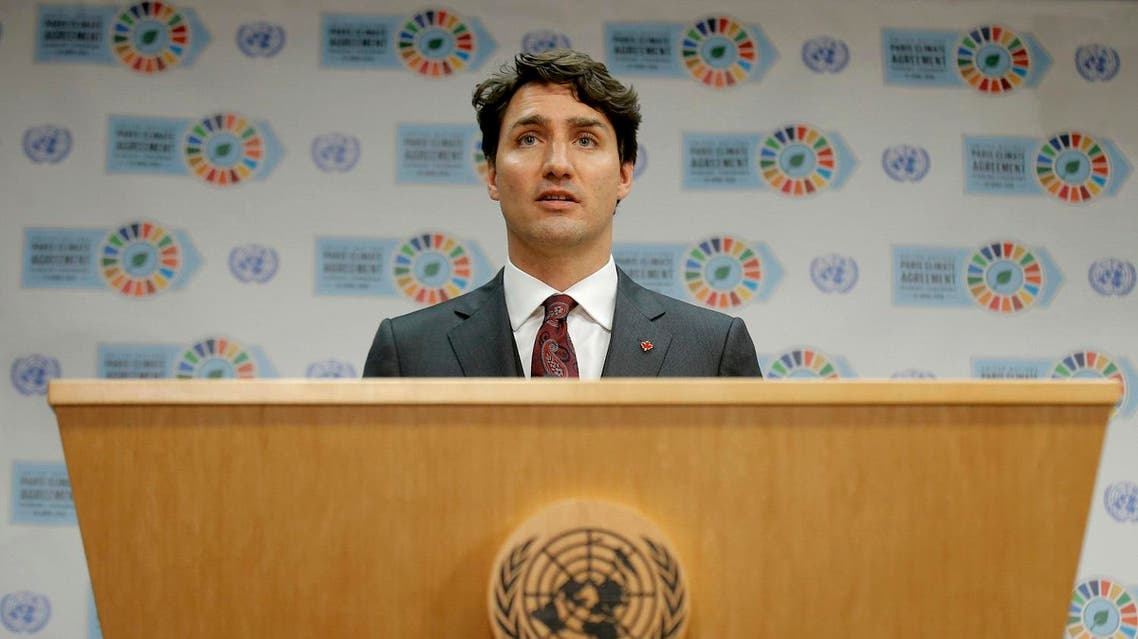 Canadian Prime Minister Justin Trudeau speaks during a press conference held on the sidelines of the Paris Agreement on climate change held at the United Nations Headquarters in Manhattan, New York, U.S., April 22, 2016. REUTERS
