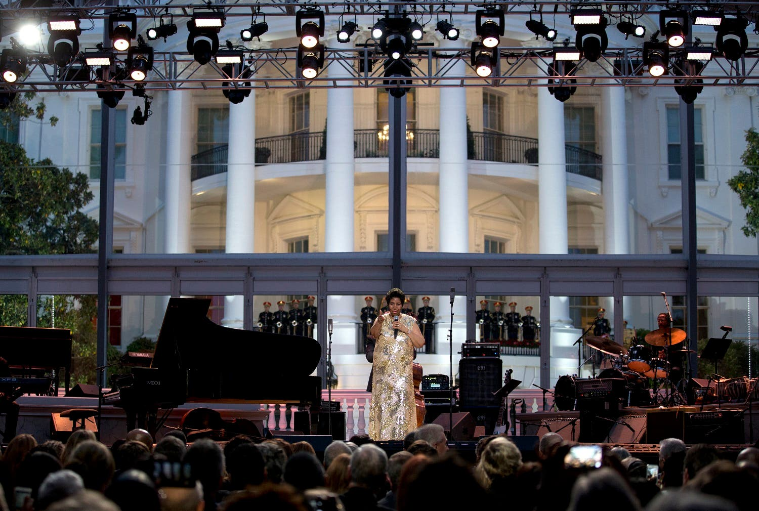 Aretha Franklin performs at the International Jazz Day Concert on the South Lawn of the White House of the Washington, Friday, April 29, 2016. (AP)