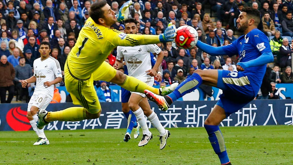 Swansea's Lukasz Fabianski saves from Leicester City's Riyad Mahrez in an earlier match. (File photo: Reuters)