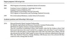 Professor puts CV of his failures online to give perspective