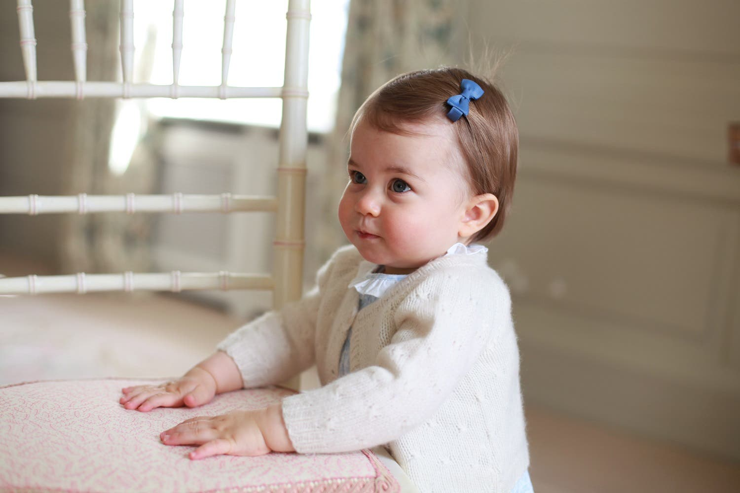 In this undated handout photo released on Sunday, May 1, 2016 by Kensington Palace, Britain's Princess Charlotte poses for a photograph, at Anmer Hall, in Norfolk, England (Photo: Kate, the Duchess of Cambridge/Kensington Palace via AP)