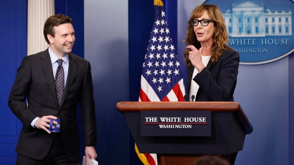 """White House Press Secretary Josh Earnest (L) and actress Allison Janney, who played a fictional press secretary in """"The West Wing"""" television show, stand together at the lectern before the daily press briefing at the White House in Washington, U.S., April 29, 2016. REUTERS"""