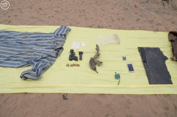 Security forces found arms, ammunition and cash from the possession of the two terrorists. (SPA)
