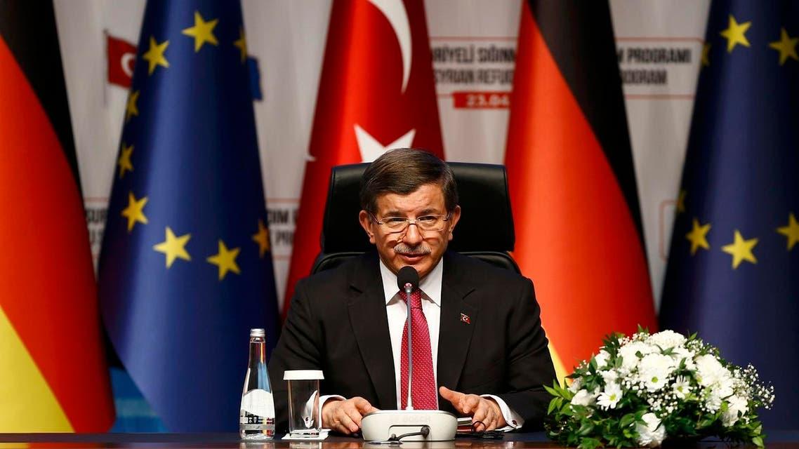 Turkish Prime Minister Ahmet Davutoglu attends a news conference after visiting Nizip refugee camp near Gaziantep, Turkey , April 23, 2016. (Reuters)